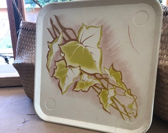 Vintage square painted tin tray