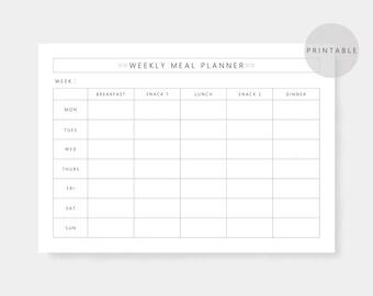Weekly Meal Planner, A4, US Letter, Printable Planner, Health, Food Planner, Instant Download, PDF, Meal planner, Minimalist, Schedule
