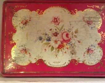 Vintage Tin, Biscuit Tin, Storage, Display, Lidded, Floral Lid