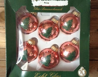 Vintage, Kitsch, Christmas Baubles, Tree, Stars, Hanging Decoration, Made in Germany, Set of 6
