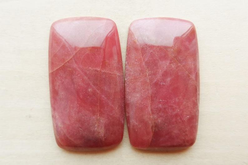 Natural Rhodonite pair cabochons free form shape