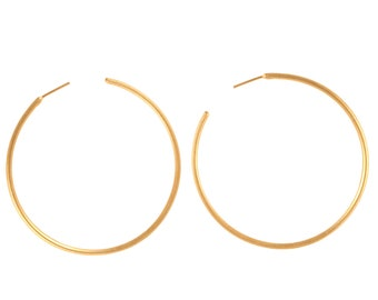 925 Sterling Silver 60 mm'' Large Yellow Gold Plated Bali Style Hoop Earring Push Back Closure Modern Hoop Earring Fine Jewelry Gift for Her
