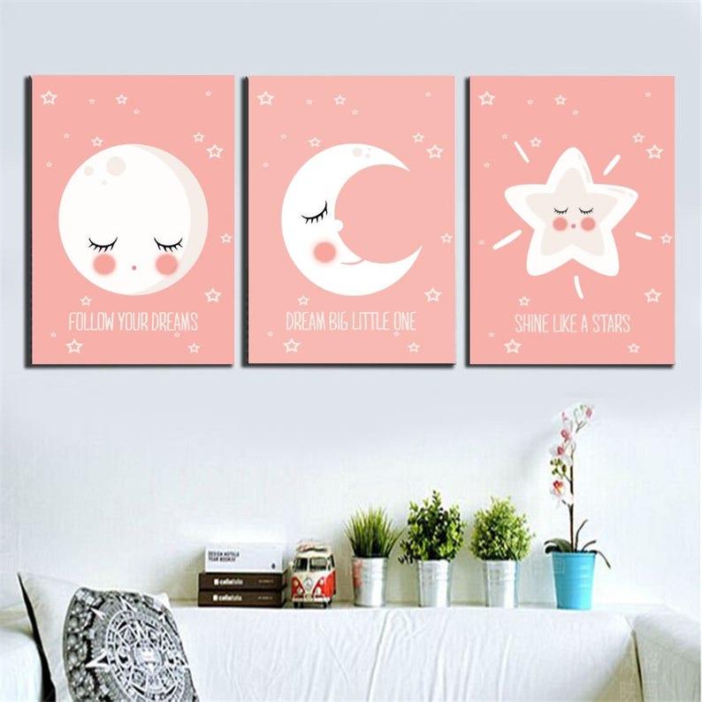 Moon and Star Posters kids, Scandinavian style, Design cute moon, Kids art decor, Wall art kids, Nursery print, Star poster