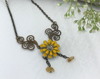"Bronzed Daisy-21"" Pendant Necklace with 1.75"" extension"