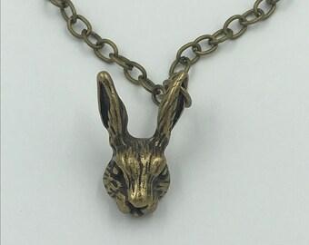 Wonderland Bunny-Bronzed Alice & Wonderland Rabbit Pendant Necklace