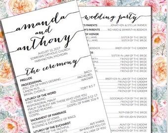 Wedding Program, Catholic Ceremony, Rustic Wedding