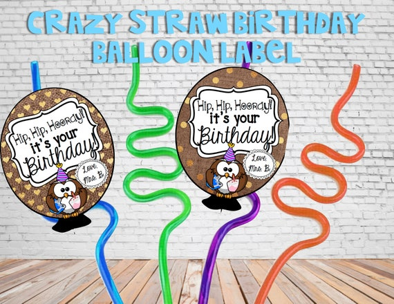 Schule Geburtstag Ballon Verruckt Stroh Label Etsy