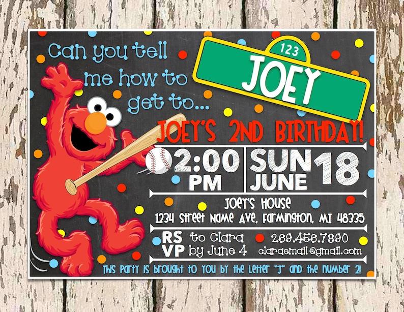 Elmo Birthday Party Invitation Etsy
