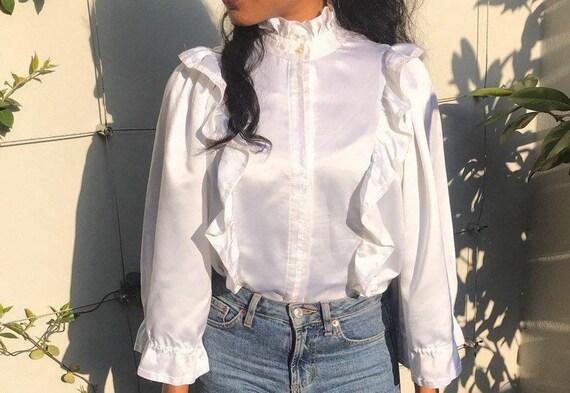 Vintage white ruffle blouse, statement collar, hig