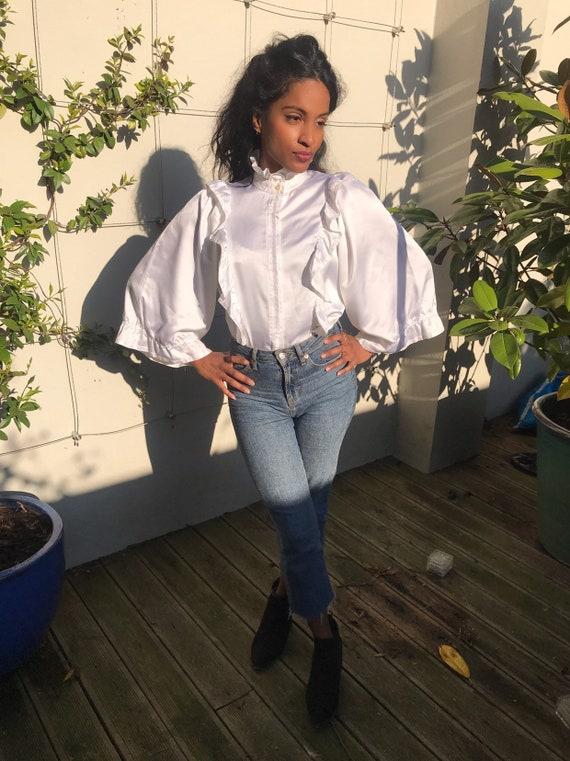 Vintage white ruffle blouse, statement collar, hi… - image 3