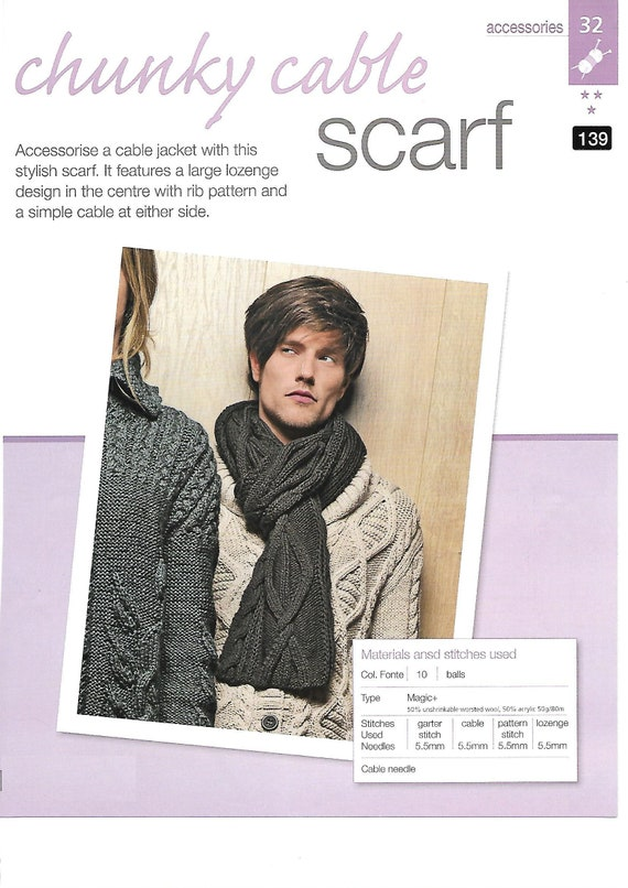 Pdf Knitting Pattern Mens Chunky Cable Scarf Patterns For Etsy