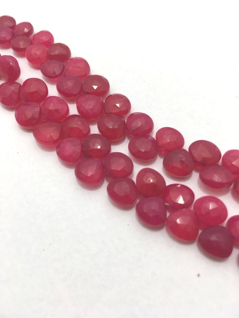 8 Inches 6mm to 8mm Gemstone Beads Pink Beads Pink Chalcydony AAA Quality Faceted Hearts Beads Semiprecious Beads,