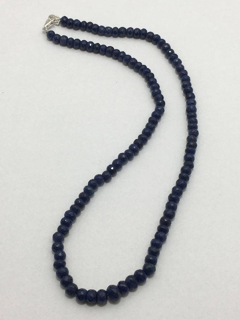 16 inches 5mm to 7mm Gemstone Beads Sapphire beads Semiprecious stone Baed Blue Beads Blue Sapphire Faceted Rondelle Beads with Clasp