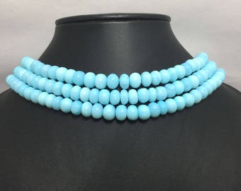Peruvian Opal AAA Quality Smooth Rondelle Beads, 6mm to 8mm, 18 inches, Blue Beads, Opal Beads, Gemstone Beads, Semiprecious Stone Beads