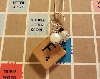 Scrabble tile F necklace
