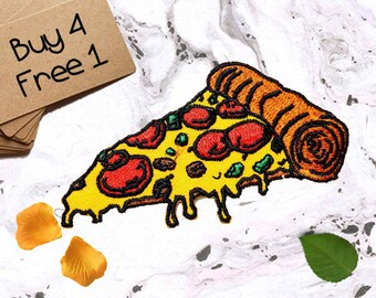 Pizza Applique Iron On Embroidered Patches