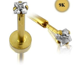 9kt Solid Gold Labret with 3mm Square CZ