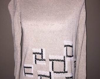 1980s vintage Crazy Horse beige petite small pullover sweater blocks  squares liz claiborne fashion Christmas e60394197691