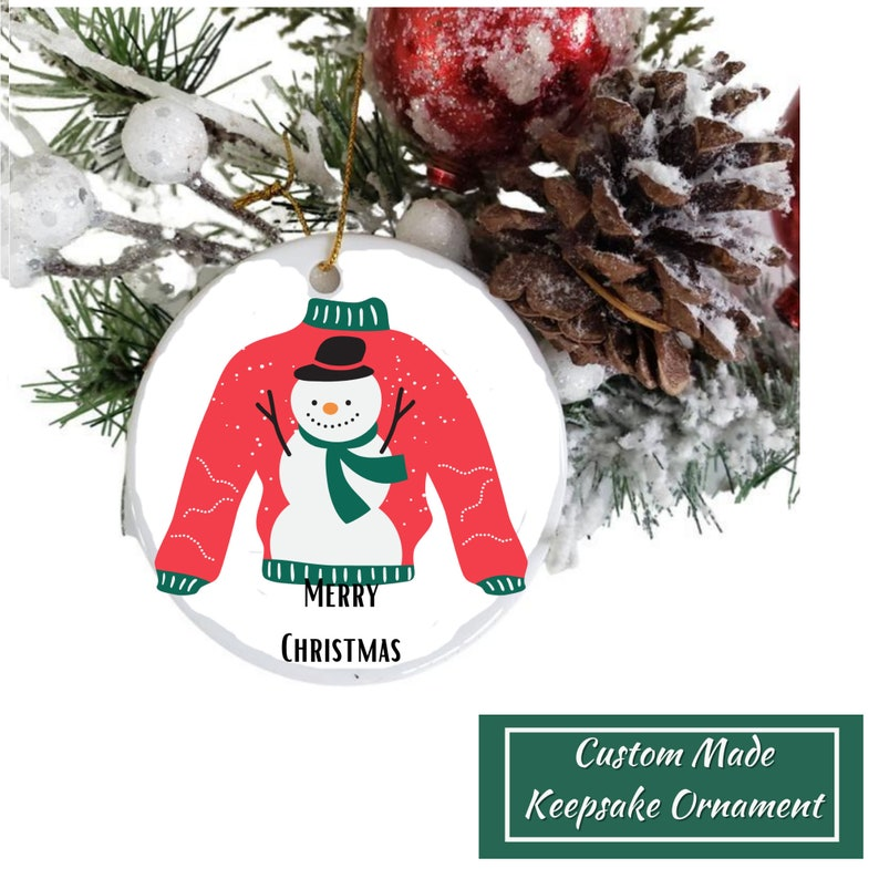 Custom Made Personalized Baby/'s First Ugly Sweater Keepsake Snowman Double Sided First Year Christmas Ornament