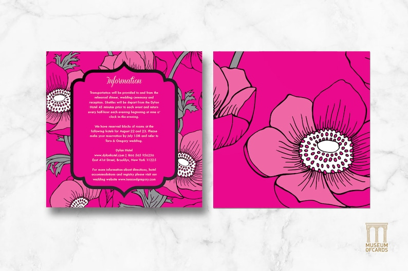 Luxury Classy Flowers Invite RSVP Wedding Invitation Suite Information Downloadable and Printable Template Set. Pink Zebra Art