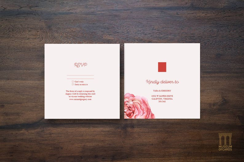 Downloadable and Printable Template Set. RSVP Information Red Rose Invite Wedding Invitation Suite Luxury Classy Minimal