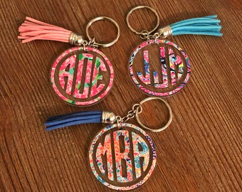 Lilly Pulitzer Keychain/Monogram Keychain/Monogram Keychains/Bridesmaid Gift/Gift for Her/Monogram Key Chain/Monogram Key Chain