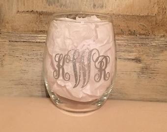 Monogram Wine Glass/Wine Glass/Bridesmaid Gift/Custom Wine Glass/Personalized Glass/Personalized Wine/Monogram Gifts/Monogram Glass