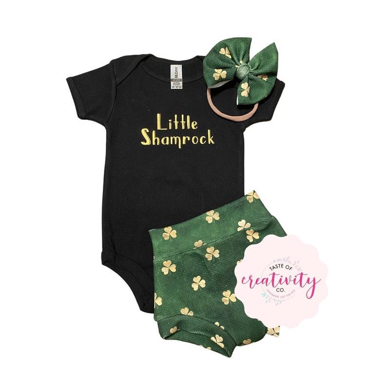 - Little Shamrock Onesie\u2122 and Nylon Bow Bullet Bummies