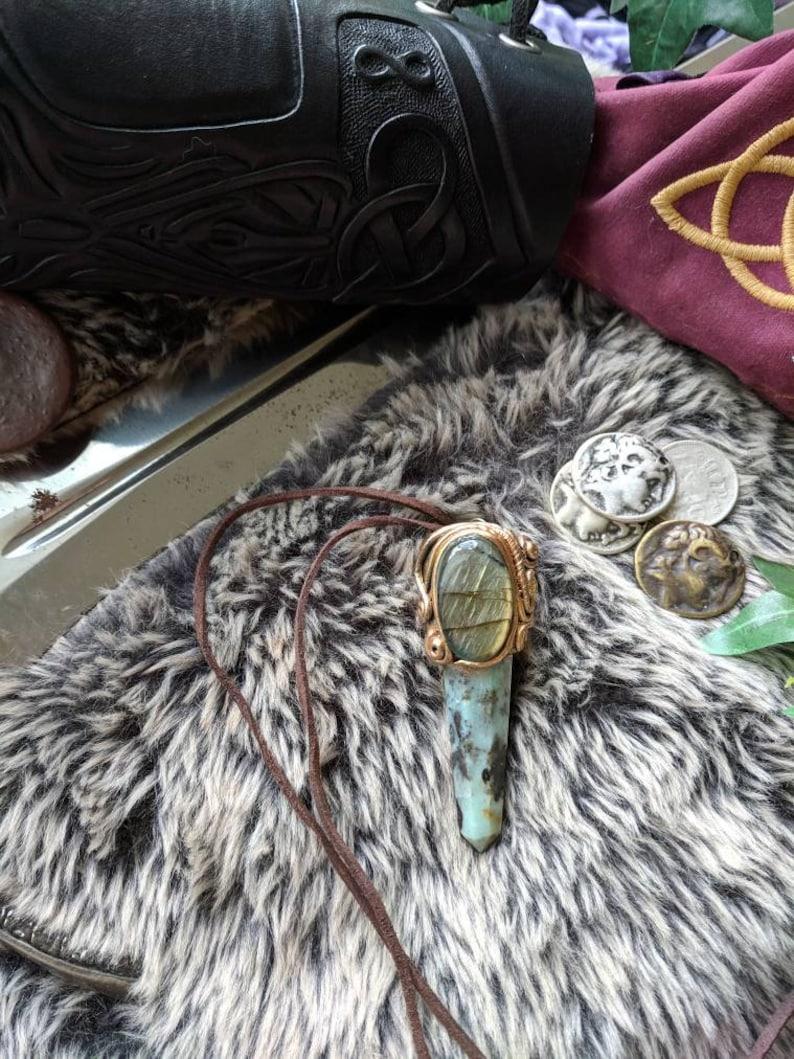 Bragi/'s Sk\u00e1ld Stone Talisman Labradorite /& Chrysocolla Viking vikings norse musician performers stone Heathen crystal pendant mens nordic