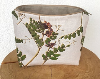 Toiletry bag, cosmetic bag, Necessaire, case, beauty case, fence vetch, botanical, hand-sewn