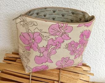 Necessaire, toiletry bag, make-up bag, travel bag, case, handmade, hand-sewn, pink, botanical, floral pattern, alpine, Swiss Alps