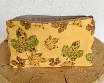 Case, cosmetic bag, make-up bag, hand sewn, botanical pattern, maple leaf