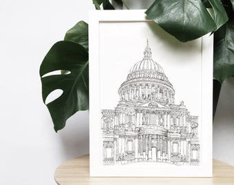 St. Paul's Cathedral, London, England monochrome/black & white line illustration print