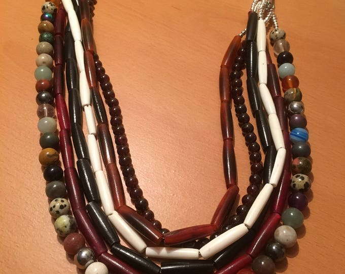 Handmade multistrand beaded necklace made of african beads and assorted blue and white beads