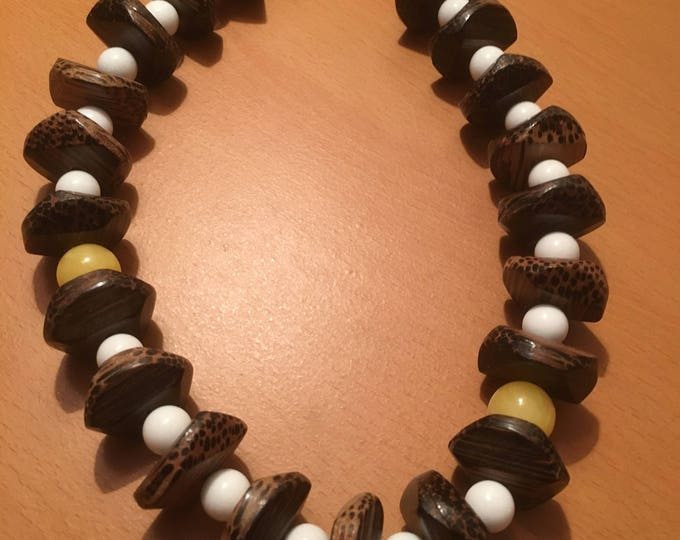 Handmade beaded necklace, For easter morning!, short necklace made of large wooden beads, white and yellow beads