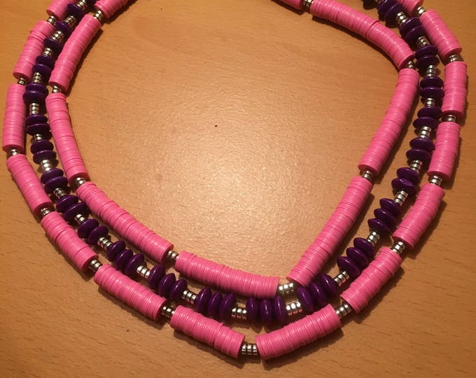Handmade multistrand necklace made pink african waist beads and purple wooden beads