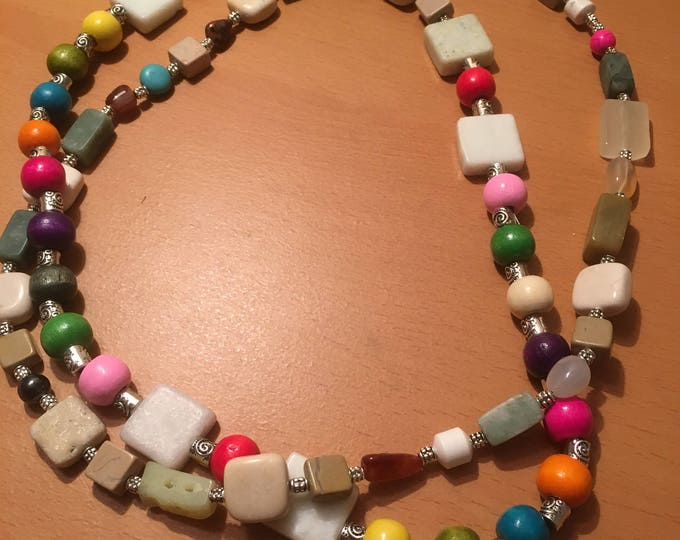 Handmade beaded necklace, made of multicolored and multisized beads