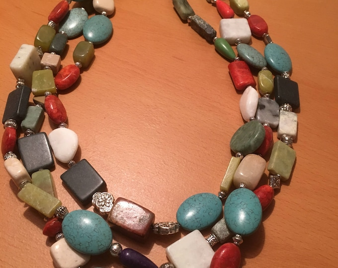 Handmade beaded necklace, multistrand necklace made of multicolored beads