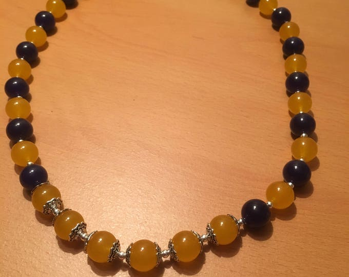 Handmade beaded necklace, Simple blue and yellow bead necklace