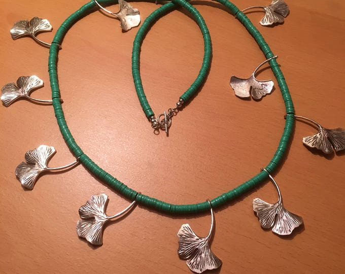 Handmade beaded necklace, green african waist bead necklace with silver colored leaves