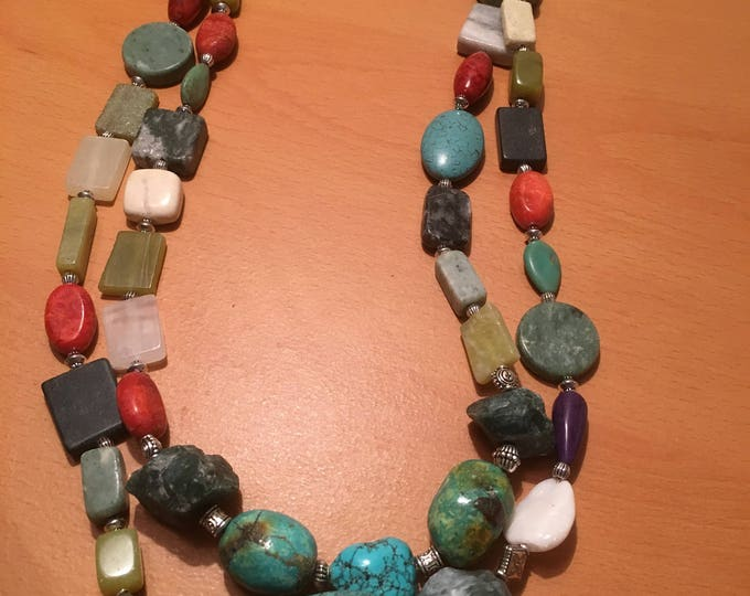 Handmade beaded necklace, A multistrand necklace made of multicolored beads