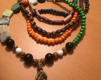 Handmade triple wind multicolored and mixed beaded necklace with pendant