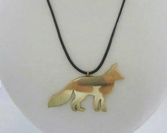 Chunky Gold Fox Pendant on Leather Cord