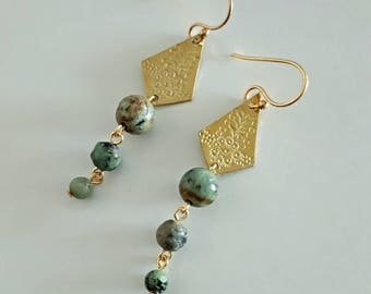 Gold Brass Geometric Earrings with African Turquoise Jasper