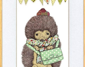 Hedgehog All Wrapped Up Picture Oak Framed Print Wall Art By Kevin Wood 2 Sizes Uk Artist