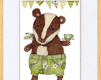 Tea Party Badger Picture Oak Framed Print Wall Art By Kevin Wood 2 Sizes Uk Art