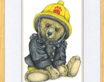 Fireman Bear Wheres The Fire Picture Oak Framed Print Art By Kevin Wood Uk Artist 2 Sizes