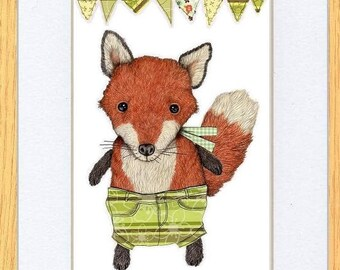 Fox In Green Shorts Picture Oak Framed Print Art Kevin Wood Uk Artist 2 Sizes