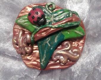 Magnetic ivy leaf with ladybug-handmade lucky charm