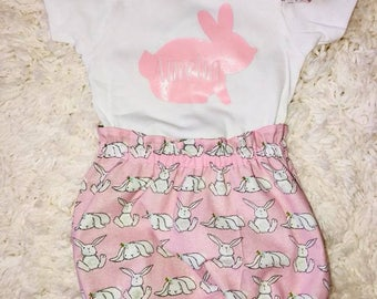 Easter bunny bloomers and Easter custom bodysuit with name